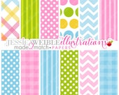 Two Peas in A Cute Digital Backgrounds - Made 2 Match - Gingham, Chevron, Stripes, Polka Dot, Backgrounds, Papers