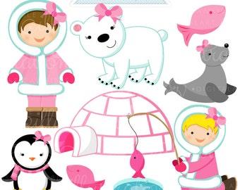 Eskimo Girl Cute  Digital Clipart - Commercial Use OK - Eskimo Clipart, Eskimo Graphics - Igloo, Fishing
