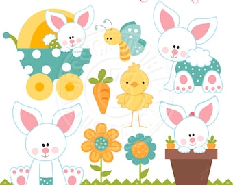Baby Bunny Boys Cute Digital Clipart, Easter Bunny Clipart, Baby Bunny Rabbit, Easter Clip art, Easter Graphics, Easter Digital Download