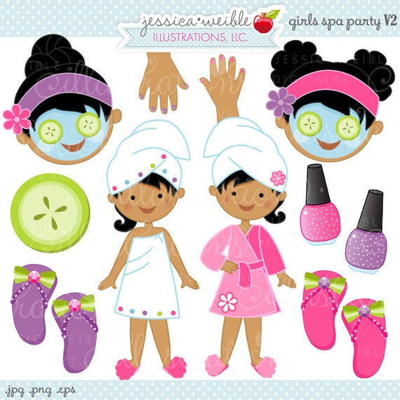 Girls Spa Party V2 Cute Digital Clipart, Commercial Use OK ...
