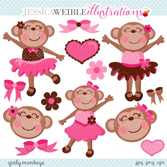 Girly Monkeys Cute Digital Clipart - Commercial Use OK - Pink Monkey Tutu, Monkey Graphics, Monkey Clipart