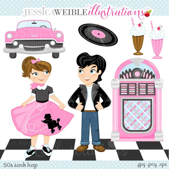 50s Sock Hop Cute Digital Clipart For Commercial Or Personal