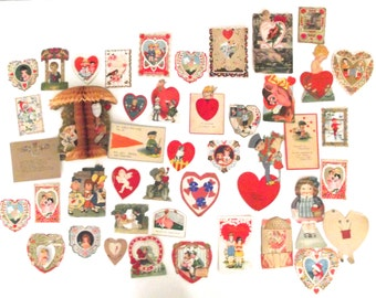 Sale 50% Off, Vintage Collecton of 44 Paper Valentines Cards, Circa 1919 D1