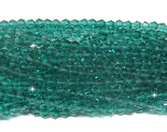 4mm Emerald Faceted Crystal Bicone Beads (50)
