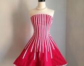vintage 1980s strapless dress red white stripe mini dress circus avant garde CANDY GIRL