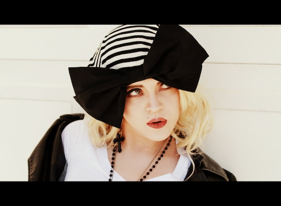 Beret Hat- Black & White Striped Knit with Black Bow