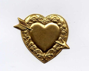 4 Heart with Arrow Brass Metal Stampings