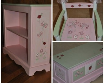 Kids Lady Bug Dragonfly and Floral Pink and Green Childrens Bookcase