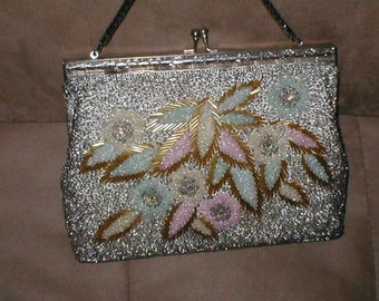 Vintage Pastels & Silver Beaded Evening Purse