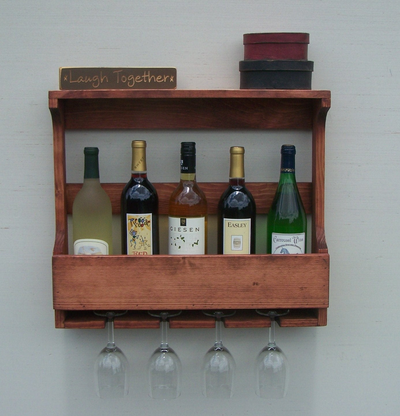 6 Bottle Wall Mount Wine Rack With 4 Glass Holder Red Oak