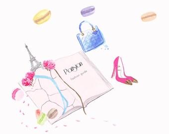 Watercolour illustration Titled Parisian Fashion Guide