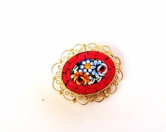 vintage micro mosaic glass brooch pin red and blue flower motif