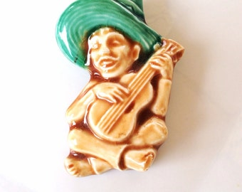 vintage Glazed Ceramic Latin American Musician Pin brooch sculpture jewelry