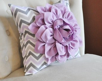 Lilac Flower on Lilac Gray and White Chevron Pillow Accent Pillow Throw Pillow Toss Pillow