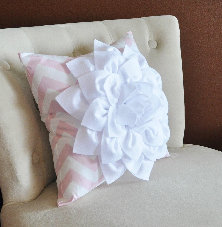 White Flower Pillow Light Pink Chevron Pillow BedRoom Decor