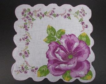 Vintage Handkerchief Deep Lavender Floral (vh180)