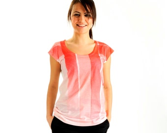 NEW ARRIVAL! Coral Red Women t-shirt summer fashion, one side printed