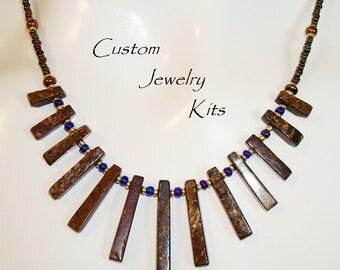 bronzite graduated stick necklace kit  semiprecious stone jewelry supply DIY brown stone necklace kit, semiprecious DIY necklace kit EASY