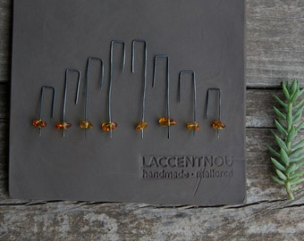 Glowing amber - long dangle earrings - oxidized sterling silver