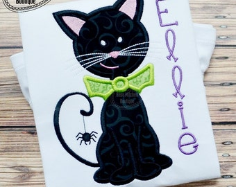 Halloween Kitty applique embroidery design