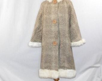 Fur Collar Coat Rabbit Fur Coat Vintage Fur Coat Womens Wool Coat Vintage Womens Coats Womens Vintage Clothing Womens Vintag