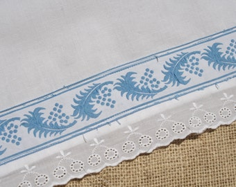 Vintage French Flat Sheet with Blue Ribbon Lace Trim Twin Size 66 x 101 inches