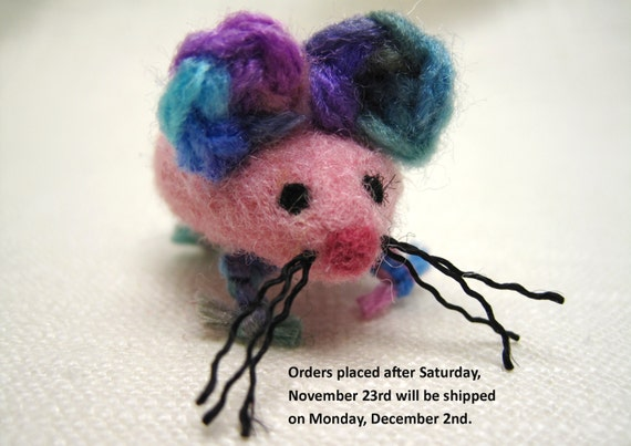 Pink and Blue Wool Cat Toy Mouse, Needle Felted Animal Toy for Kitten,  Pedro's Cat Toy for Charity