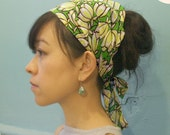 Sale Head scarf -Multi size Yellow Flower in Green