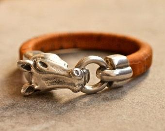 Horse Bracelet , Cork Bangle , Equestrian Jewelry , Vegan Bracelet ,  Horse Bangle , Horse Jewelry , Riding Jewelry , Amy Fine Design
