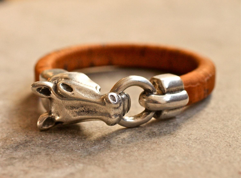 Horse Bracelet Cork Bangle Equestrian Jewelry Vegan