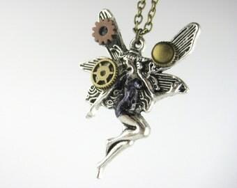 Fantasy Steampunk Jewelry - Womens Steampunk Fairy Costume Accessory - Dieselpunk Cyber Punk Cosplay - Goth Fairy Necklace Silver Bronze