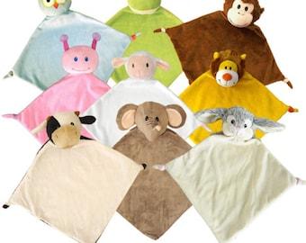 Personalized Security Blanket- You choose animal fonts and color- monkey, owl, ladybug, cow, elephant, rabbit, lion, monkey, frog, lamb