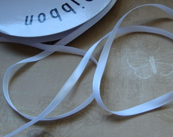 "Stunning 100 yards 1/4"" (6.3 mm) width white satin ribbon trim"
