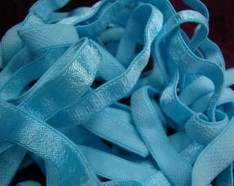 "5 yards 3/8"" width plush back lingerie mist aqua satin elastic / stretch satin ribbon"