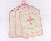 20 CUSTOM Personalized Girl Baptism Favor Tags, First Communion Tags, Christening Tags, Girl First Sacrament Tags - Vintage Style
