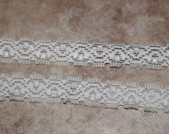 "5 yards narrow skinny Off WHITE baby headband soft stretch elastic lace 1/2"" wide DIY"