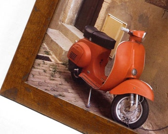 Wall Decor - Magnetic Memo Board - Dry Erase Board - Framed Bulletin Board - Magnet Board - Italy/Vespa Design - Magnets Included