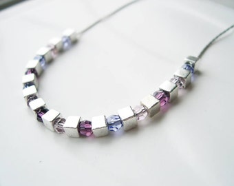 Purple Necklace, Amethyst, February Birthstone, Crystal, Contemporary Silver Jewelry, Modern, Cubes,