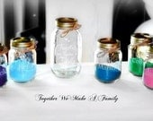7  Piece Sand Ceremony set, Together we Make a Family 6 pouring vases mason jars, Wedding Sand Ceremony Set, Personalized Sand Ceremony Set