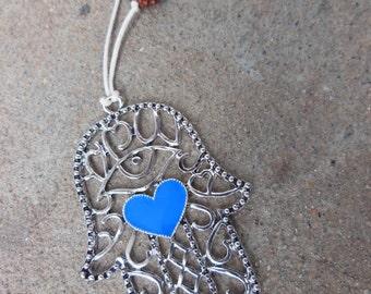 Lovely Hamsa Hand of Fatima Protection Blue Heart Necklace Beaded