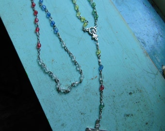 Vintage Rainbow Faux Crystal Silver Toned Rosary Prayer Beads Red Yellow White Blue Green