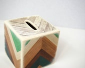 Chevron Wood Grain Wood Bank - Piggy Bank , Wooden Bank, Chevron, Modern Baby, Faux wood grain, Money Box, Coin Box