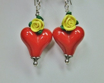 RED HEARTS / Yellow Rose Bold Dangle Drop Rockabilly Lampwork Earrings - ReD HoTs