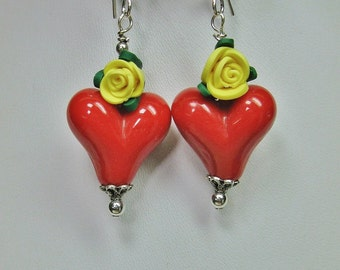 RED HEARTS / Yellow Rose Bold Dangle Drop Rockabilly Lampwork Earrings - ReD HoTs