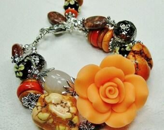 CHUNKY ROSE BRACELET / Orange / Black / Brown Statement Bold Two Strand Cowgirl Bracelet - SuNSeT RoSe