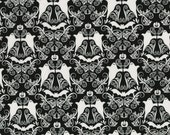 """Hocus Pocus from RJR Fabrics - 35"""" x 44"""" end of the bolt Black and White Halloween Damask with Ghosts and Bats"""