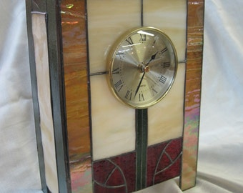 Craftsman Style Stained Glass Clock Mackintosh Rose