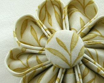 Yellow Leaf Pattern Flower Pin with Matching Button, Spring Fashion Accessory