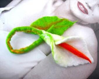 Felted, Wool Jewelry felted woman ART   brooch