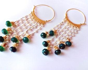 Pearl earrings,Green Onyx hoop earrings,Chandelier earrings,Gold Hoop earrings by TANEESI Jewelry
